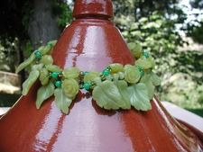 Merrille's Jadite Leaves & Serpentine Necklace